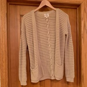 Tan cardigan with lace-up back